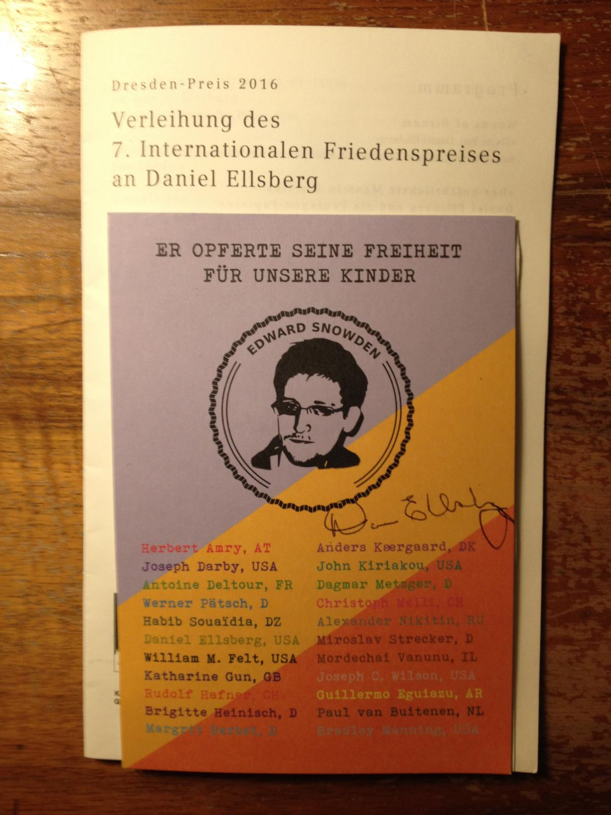 7. Dresdner Friedenspreis Daniel Elsberg Semperoper
